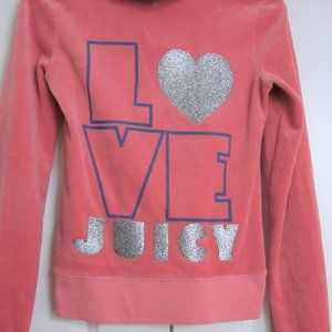 Juicy Couture Pink Velour Zippered Hoodie Jacket